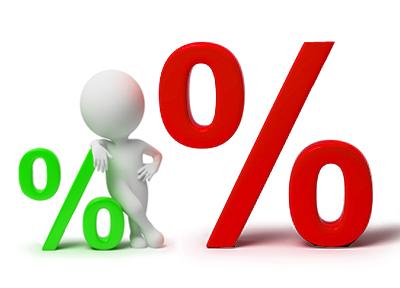 Оцените разницу в процентах